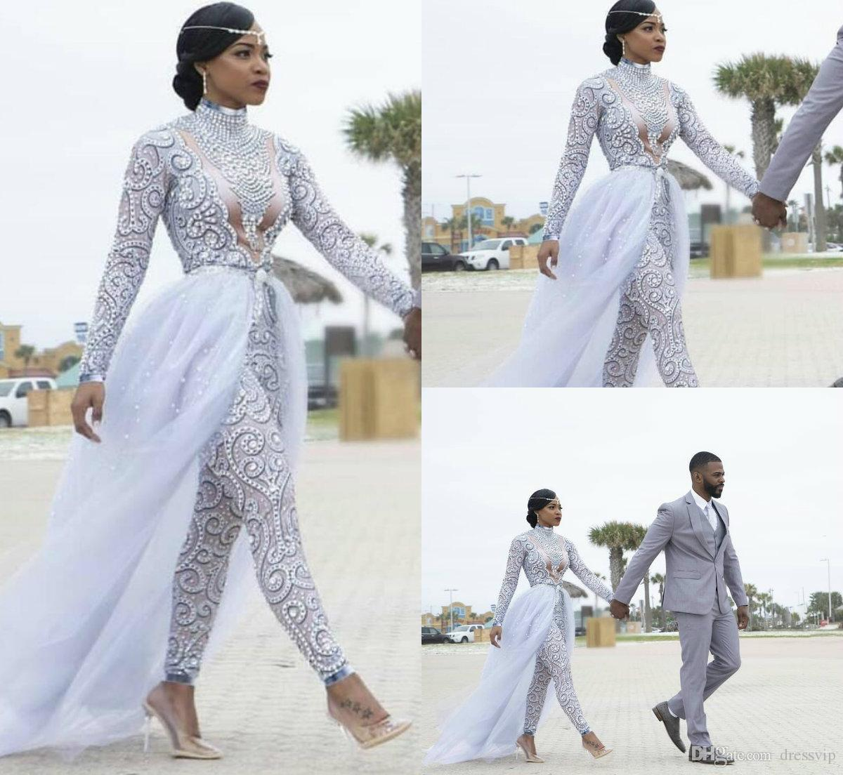 분리 가능한 기차 웨딩 드레스와 화려한 jumpsuits 높은 목 비즈 크리스탈 긴 소매 겸손 웨딩 드레스 아프리카 신부 가운