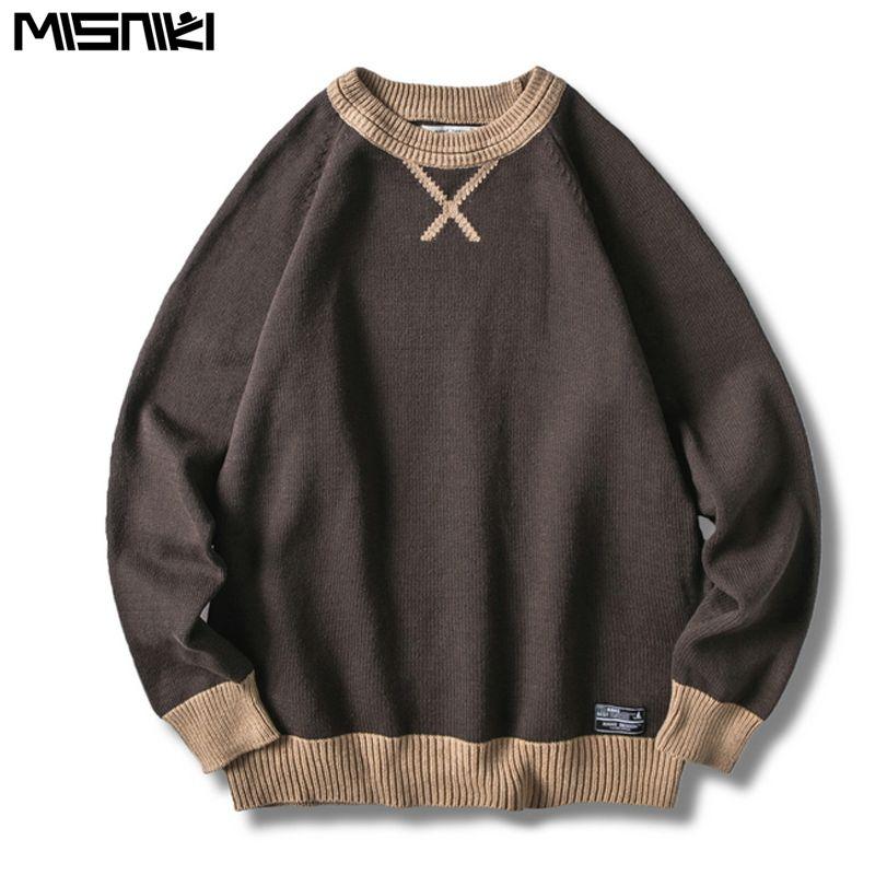 Misniki 2019 Вязаные свитера Мужские пуловеры Свитера Мужчины Зимняя одежда Пуловеры Мужской Вытащите Homme JP32