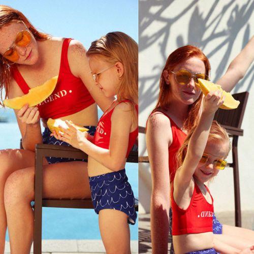 Aile Eşleştirme Mayo anne kızı Bayan Çocuk Bebek Kız Mayo Bikini