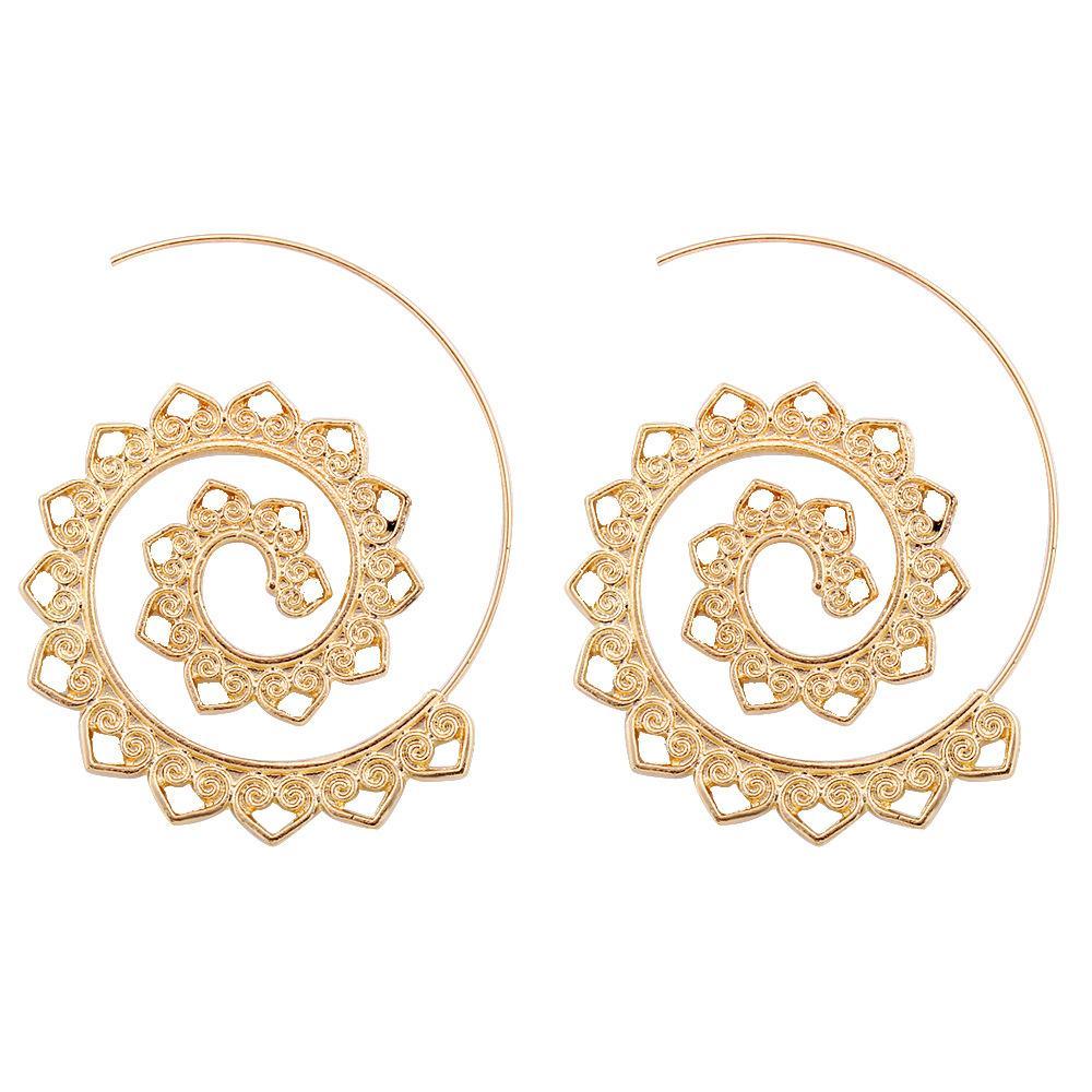 Moda: explosiones Pendientes de engranajes espiral exagerados Personalidad Círculo geométrico Accesorios para orejas en espiral