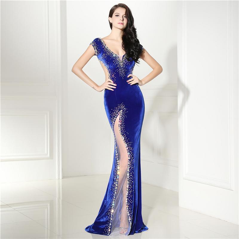 로얄 블루 이브닝 드레스 긴 섹시한 반짝 페르시 V 넥 캡 소매 저녁 여성 벨벳 파티 드레스 드레스