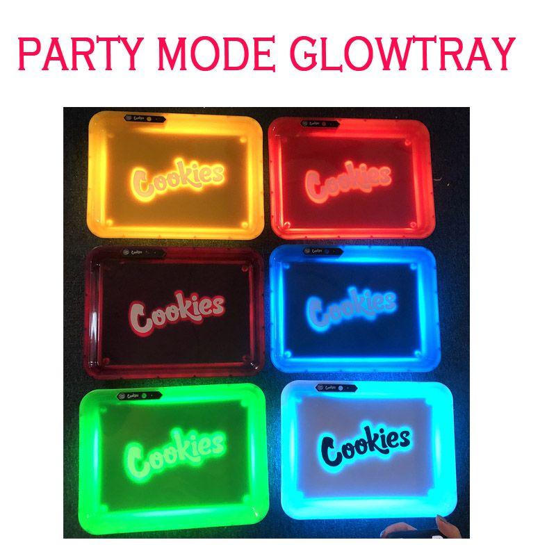 الكوكيز PARTY MODE Glowtray أزرق أحمر LED الكوكيز المتداول الوهج صينية أصفر أرجواني الأبيض Runtz المعزل لالمتداول الجاف عشبة زهرة