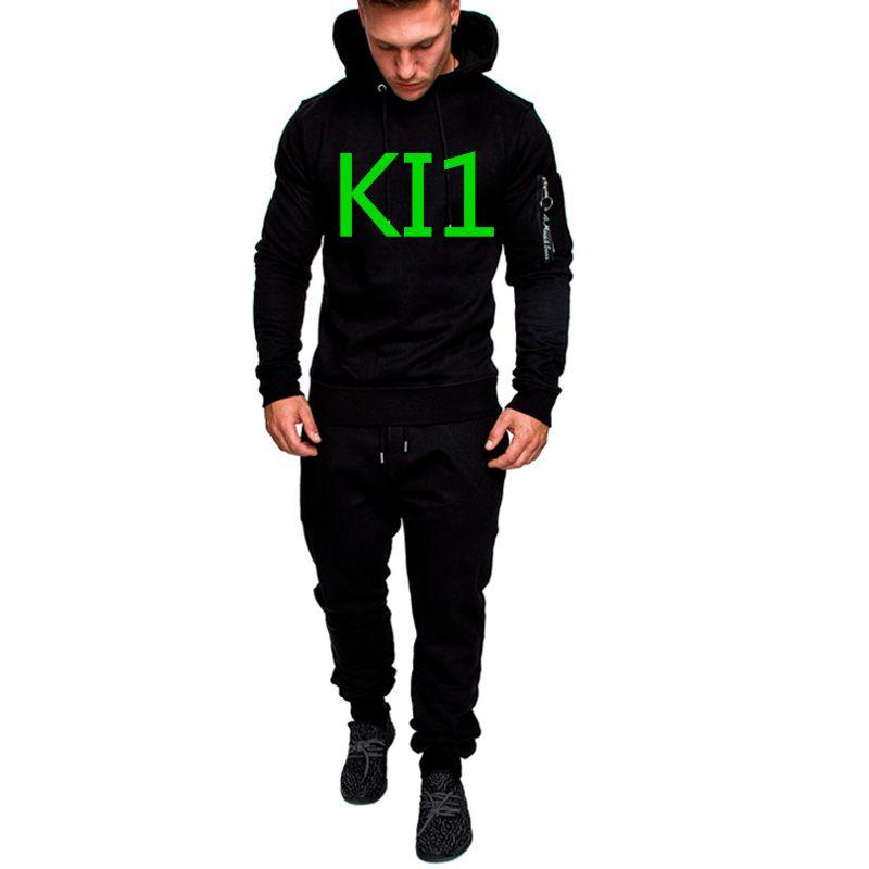 KI1 Green Letter Men's Commission Spring Sportswear Hoodies Set Suit Sweatshirts Man Jacket Tracksuits Solid Color Pullover