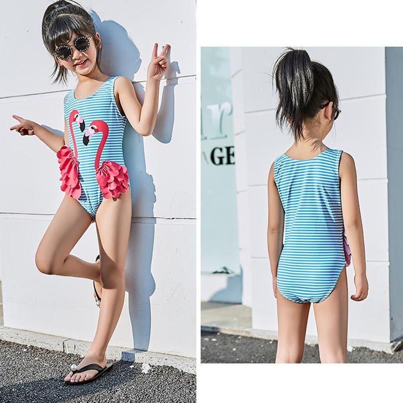 2020 Maillots de bain Filles mignon enfants Maillot de bain Natation Swan Flamingo bébé Maillot de Bain Porter Une pièce de natation pour les enfants