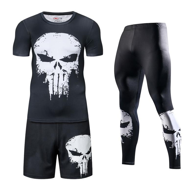 2020 New 3 Piece Men'S Sportswear 3D Print T-shirt Short And Tight Running Set Gym Fitness Jogger Running Tracksuit