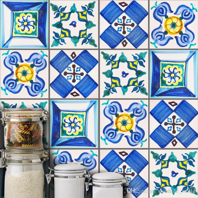10pcs / set de Valencia Estilo azulejo de la pared pegatinas Dormitorio Salón Mural del arte DIY Adhesivos de decoración del hogar de cocina cuarto de baño