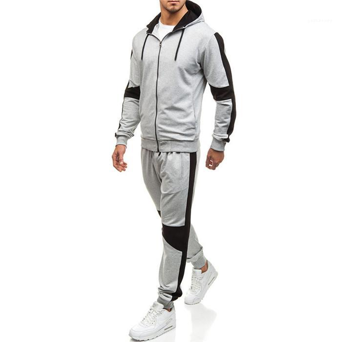 2ST Desinger-Sport-Trainingsnazug Fest Farbe mit Kapuze Langarm Hosen Herbst Homme Kleidung Basketball Lässige Kleidung Herren
