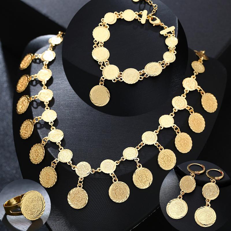 Presente da jóia do casamento Moda do Oriente Médio árabe Coin Set Jóias Colar Anel Pulseira de ouro da noiva colorida