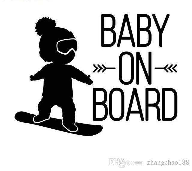 16 * 12 cm blanco Bebé Negro a bordo de la etiqueta del coche, muchacho en snowboard vivyl pegatinas de coches CA-582