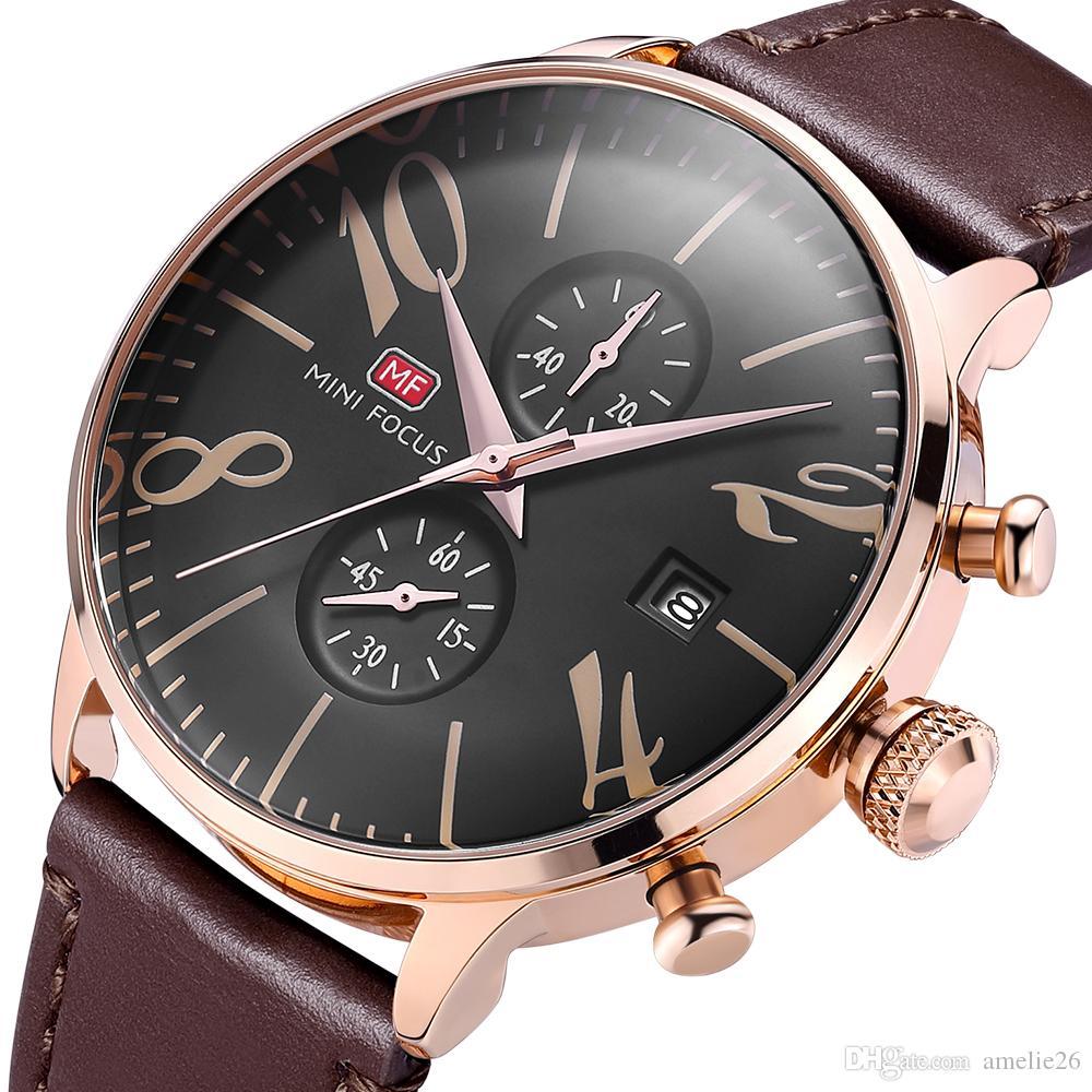 Classic Watch Men alle Zifferblätter arbeiten wasserdicht Chronograph Quarz Uhr Lederarmband Kalender Herrenuhren