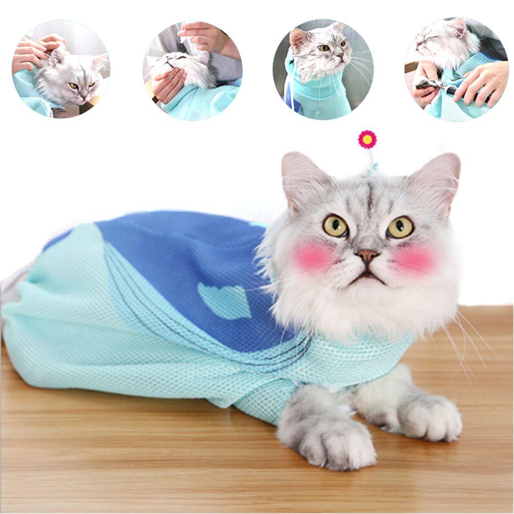 SEIS Blauwal Cat Washing Tasche Mesh-Katzen Grooming Taschen Breathable Haustier-Dusche für Badewanne Nagel-Zutaten