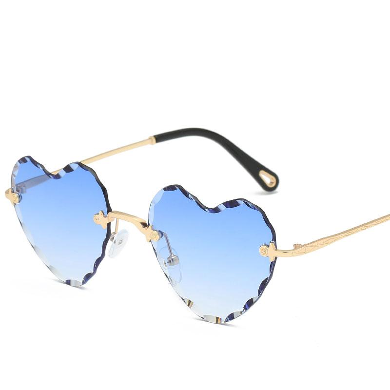 New Style Love Frameless Cut Hearts Sunglasses Heart Shaped Wave Sunglasses Women's Crossover Mesh Multicolor Glasses Top Quality Sunglasses