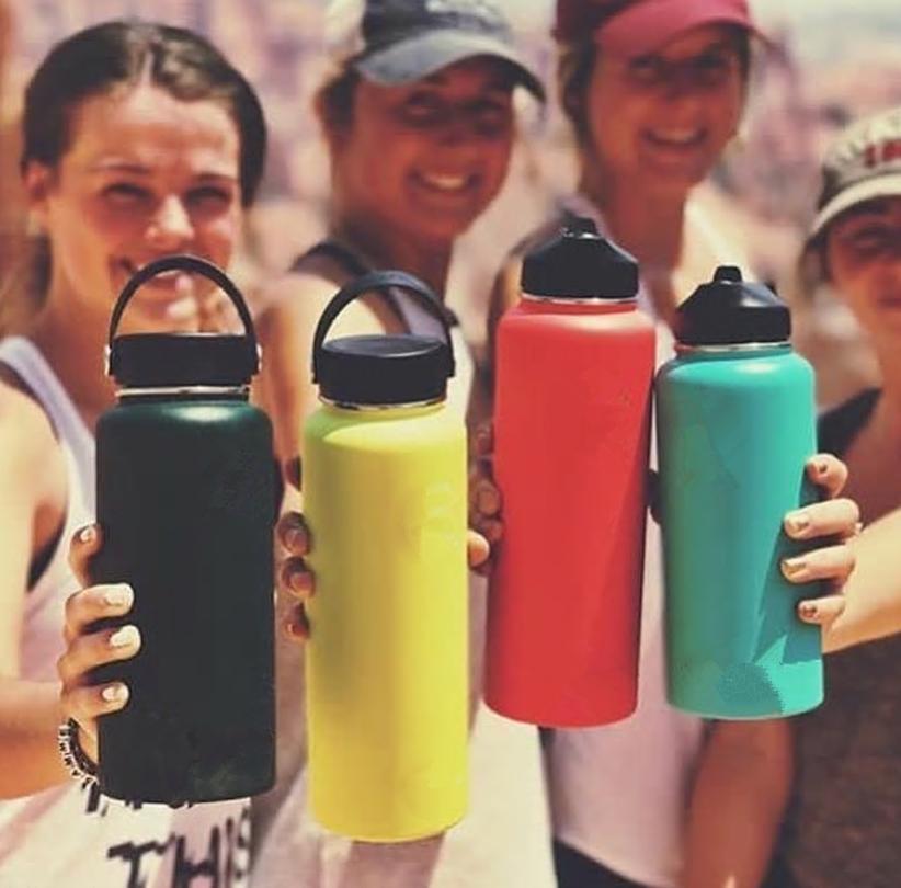 13colors 18oz 32oz 40oz бутылки воды с вакуумной изоляцией бутылки 304 из нержавеющей стали бутылки воды широкогорлая большой емкости для путешествий Кружки с крышками