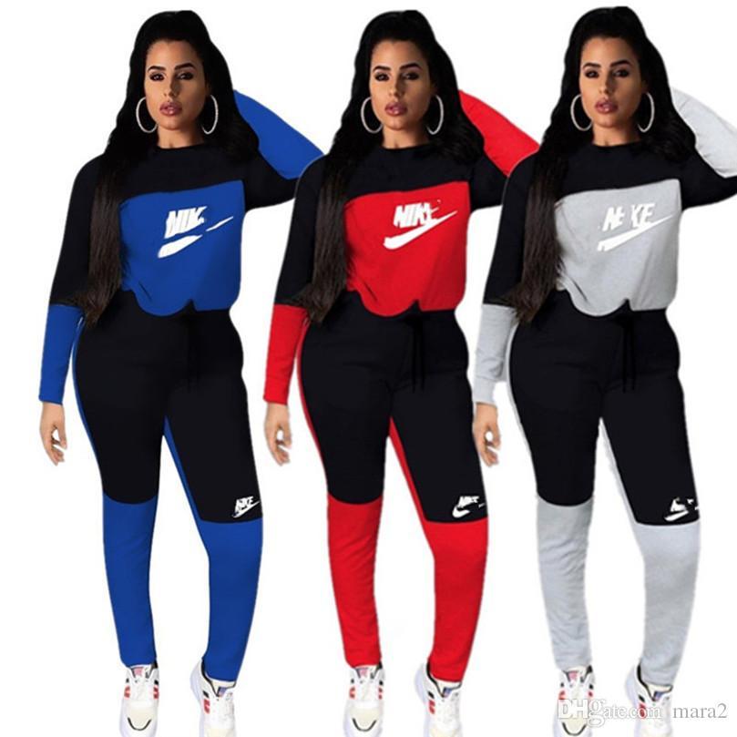 Hoodies de las mujeres de la marca de 2 piezas de ropa otoño invierno ejecución de conjunto de chándal pantalones de chándal polainas sudadera trajes monos de la prendas de vestir 1560