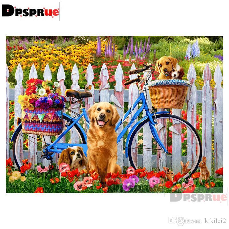 Dpsprue rodada completa broca 5d diy pintura diamante kit dog bike bordado ponto cruz mosaico strass decoração da casa de presente s204