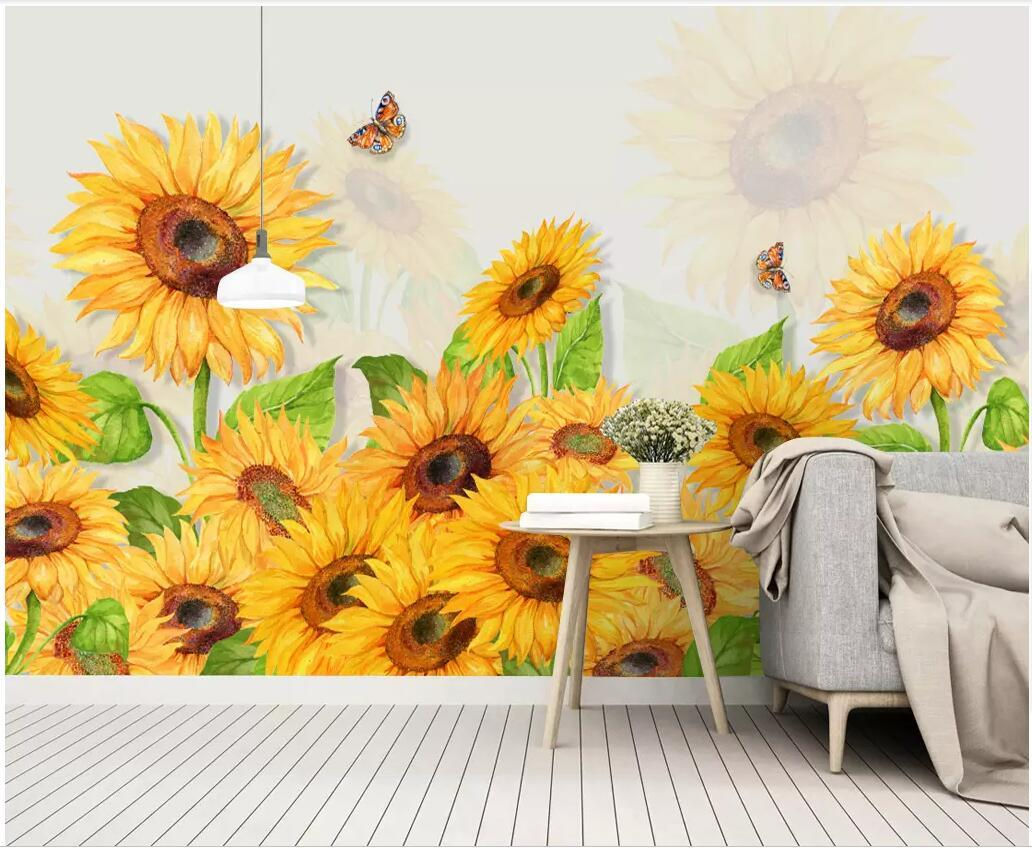 3d Wallpaper Custom European Minimalist Hand Painted Sunflower Flower Watercolor Home Decor 3d Wall Muals Wall Paper For Walls 3 D Hd Wallpapers