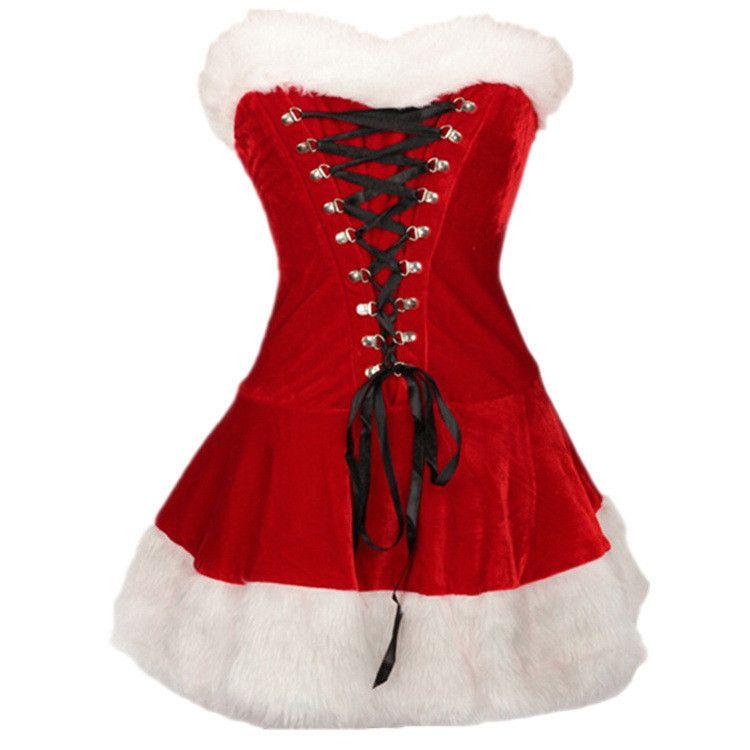 Women's Santa Claus Costume Deluxe Velvet Christmas Xmas Red Girl Dress+Hat