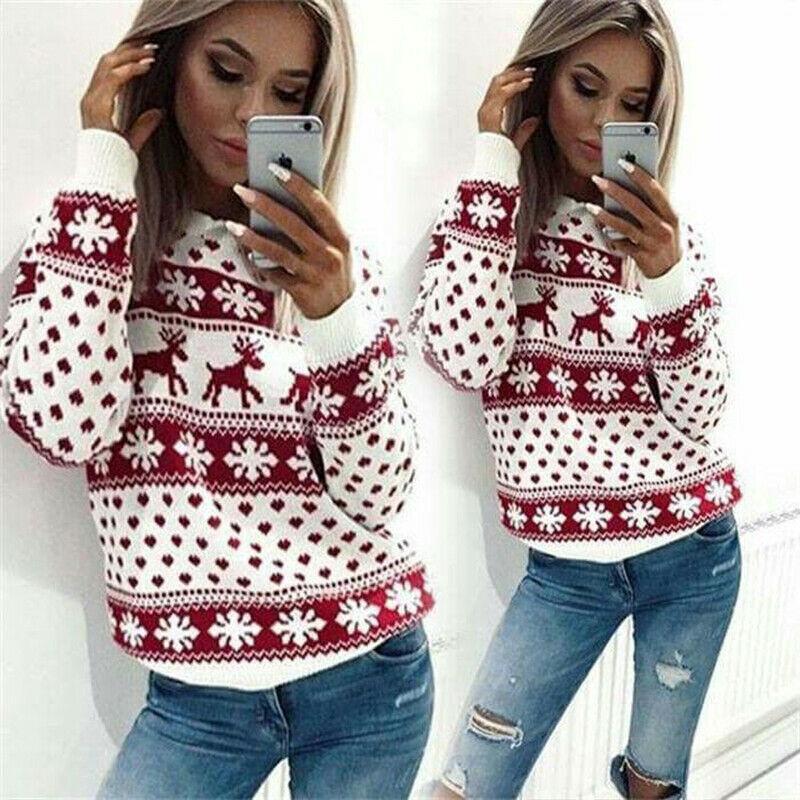 Las mujeres Señora Jumper Suéter Tops capa del suéter de Navidad Tops elegantes Mujer largo manga del invierno caliente de los animales de impresión suéteres