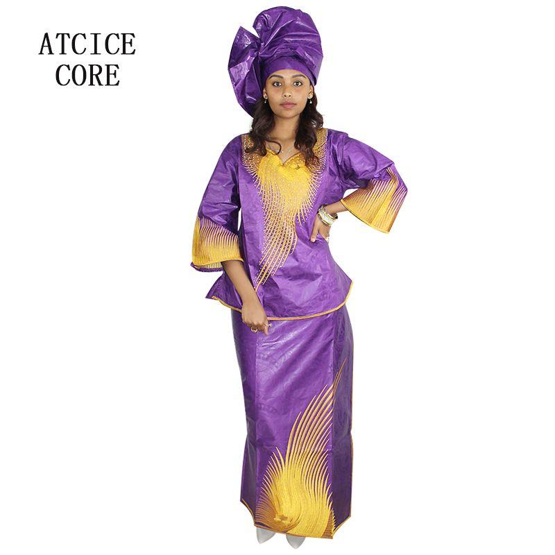 Vêtements ethniques Robes africaines pour femmes 100% coton Dashiki Fashion traditionnel Bazin Riche Broderie Rappeuse courte avec écharpe LB061