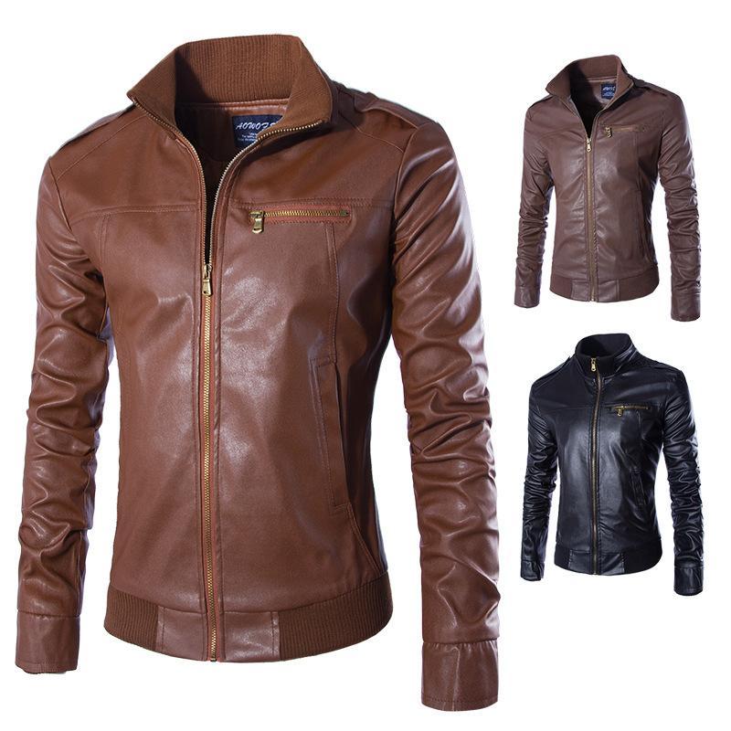 Il nuovo modo autunno maschio rivestimento di cuoio nero Brown Mens stand collare di cuoio Coats Y037 Giacca in pelle motociclista giacche moto