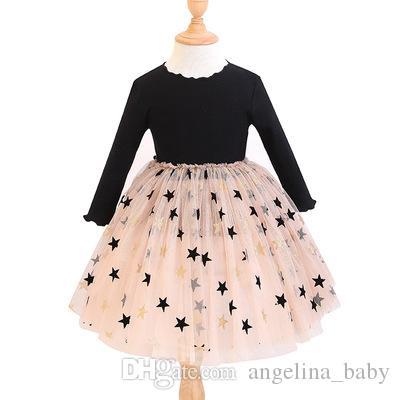 Baby Girls Long Sleeve Dress 귀여운 스타 프린트 니트 패치 워크 거즈 원피스 2019 New Spring Autumn Fashion kids Dress Colthing