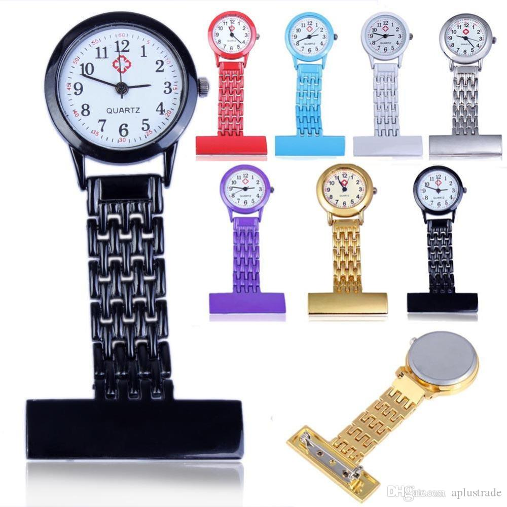 Reloj de bolsillo Números árabes de acero inoxidable Reloj de cuarzo Mujer Lady Cuarzo Clip-on Fob Broche Enfermera Reloj de bolsillo