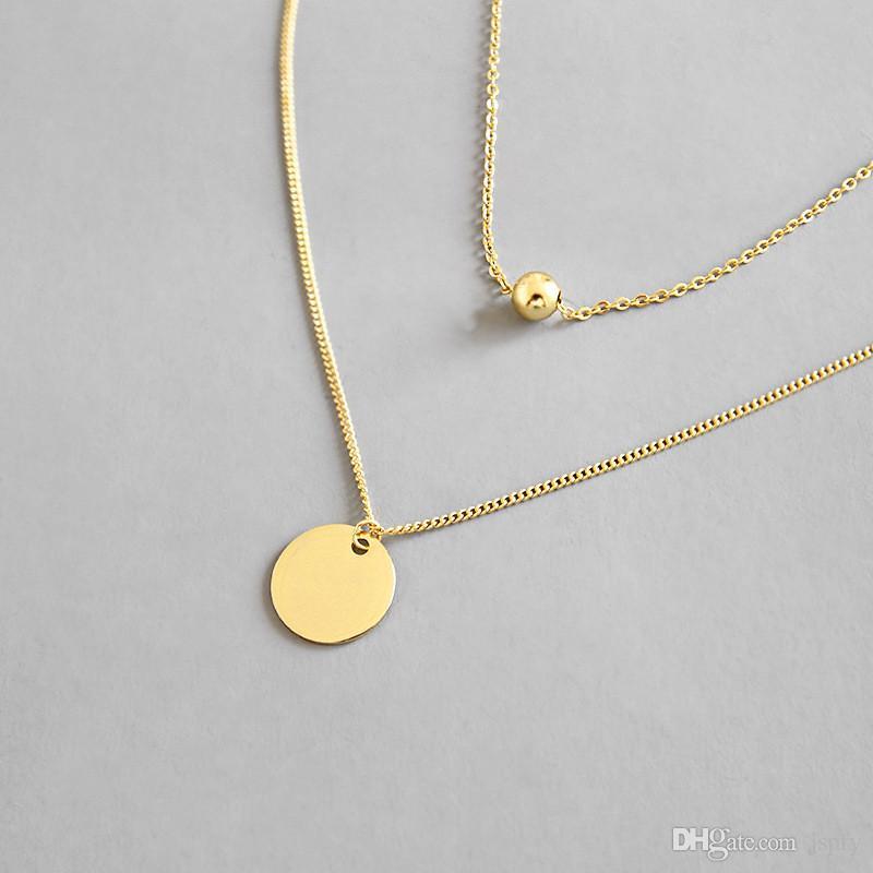 Plata de ley 925 de múltiples capas collares de cadena para las mujeres nuevo geométrico simple roundbeads collar colgante de joyería fina