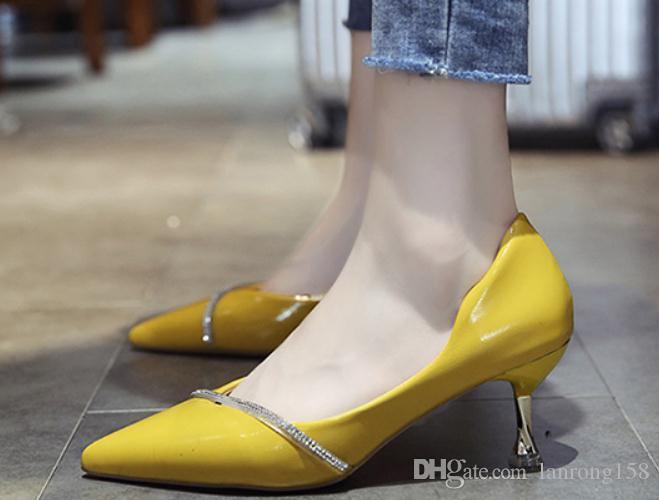 2020 zapatos de mujer en primavera y otoño con nuevo estilo del tacón alto talón fino extremo puntiagudo @ 4117