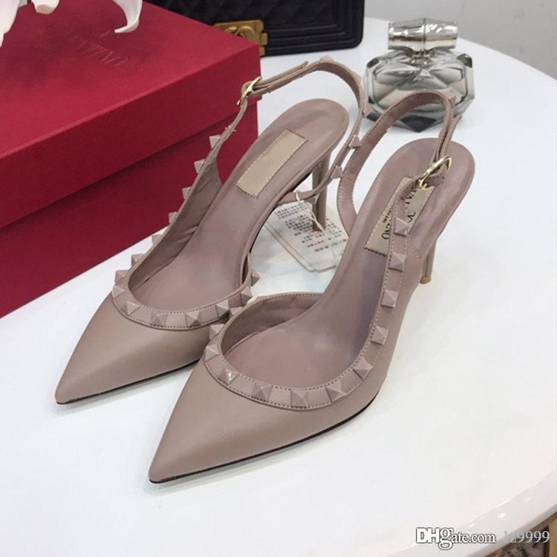 ساخنة المرأة محبب جلد SLINGBACK PUMP 50 MM فاخر مصمم أحذية نسائية صنادل جلدية الموضة عارضة أعلى جودة الحجم 35-42 مع