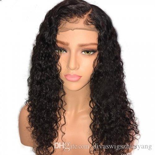 Frente del cordón Pelucas de cabello humano Mojado Ondulado 150% Densidad DIVA Natural Negro Brasileño Remy Cabello Rizado Glueless 360 Pelucas de encaje Pre desplumado