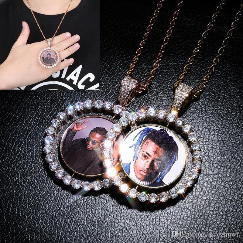 Luxury Designer 18K plaqué or bling bling diamant Photo faite sur commande Médaillon Faire pivoter collier pendentif bijoux Diy Cadeaux personnalisés de Noël