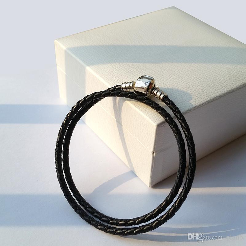Mode für Frauen 925 Sterlingsilber Real Black Double-Layer-Leder-Armband für Pandora Charme-Korn-Schmucksache-Männer Mens-Armband-Armband