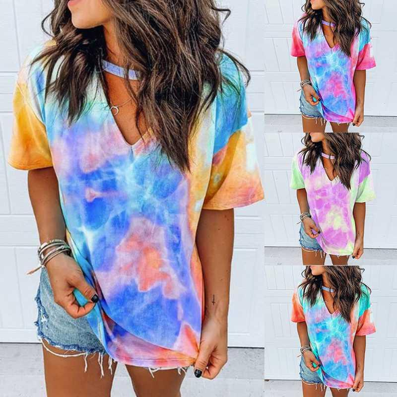 Sexy Women Tie Dye Printing Sport Shirts Casual Fitness Gym Yoga Top Running musculation Short sleeve T-Shirts basketball