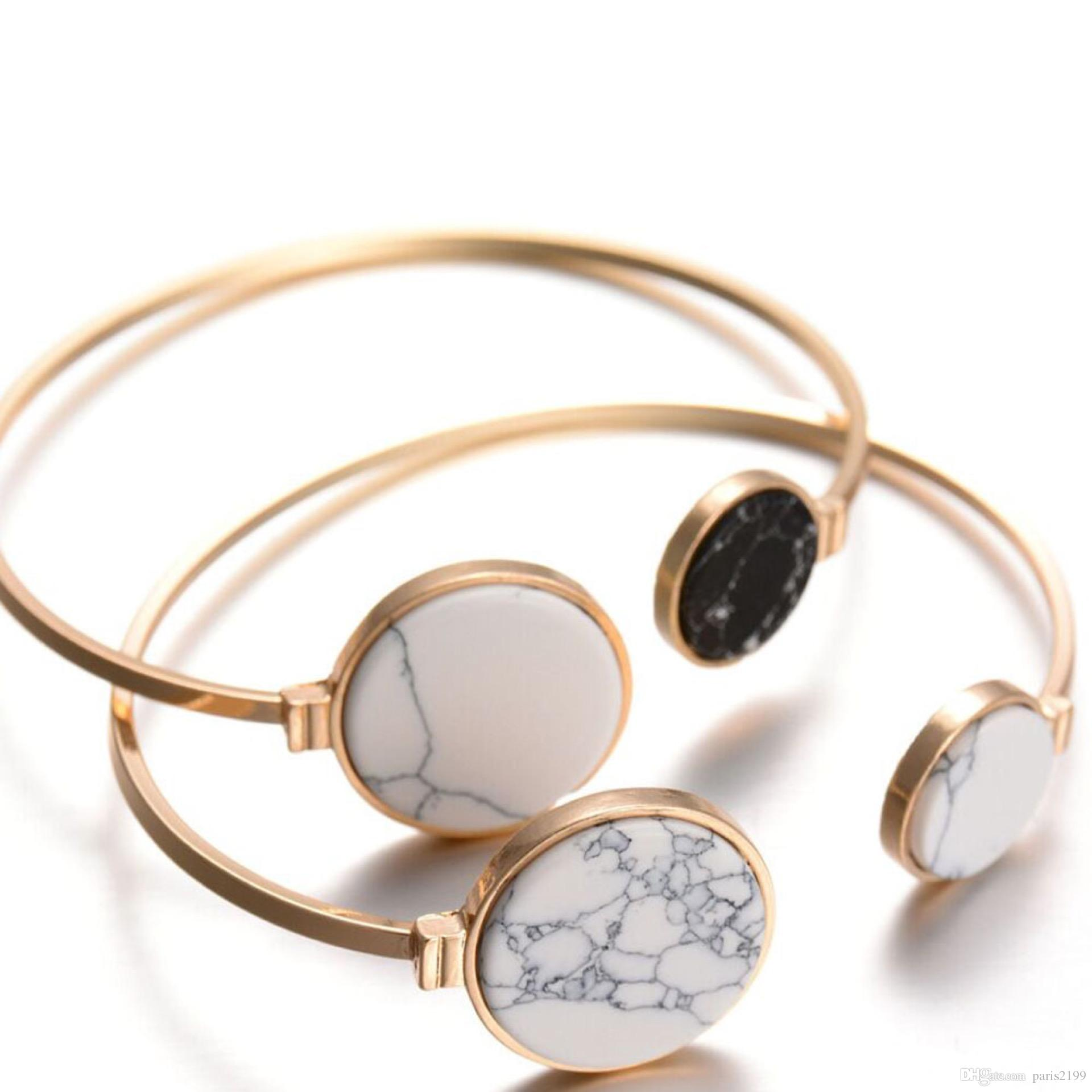 New Vintage lega oro triangolo rotondo bianco turchese nero pietra marmorizzata pietra polsino regolabile bracciale bracciale gioielli