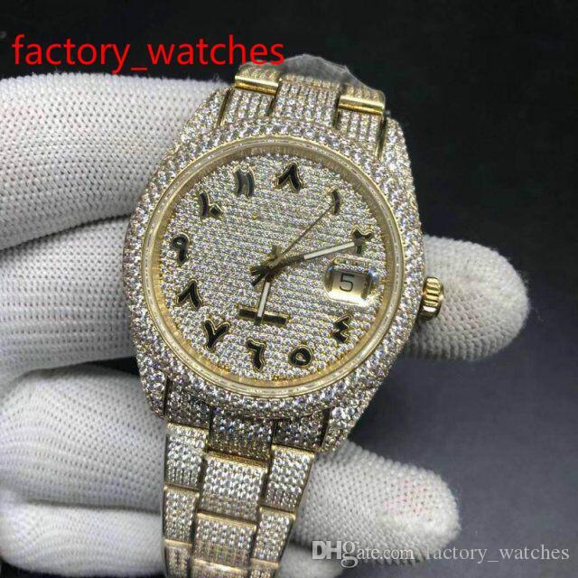 Plus de diamants de haute qualité montre acier inoxydable automatique masculin de cas en or jaune avec chiffres arabes luxe brillants nouveaux arrivants