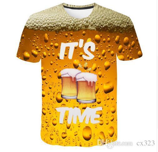 Cool Summer Beer Impressão Completa T Shirt Novidade Tee Manga Curta Top Man Unisex Outfit Alta Qualidade Causal Dropship T-shirt