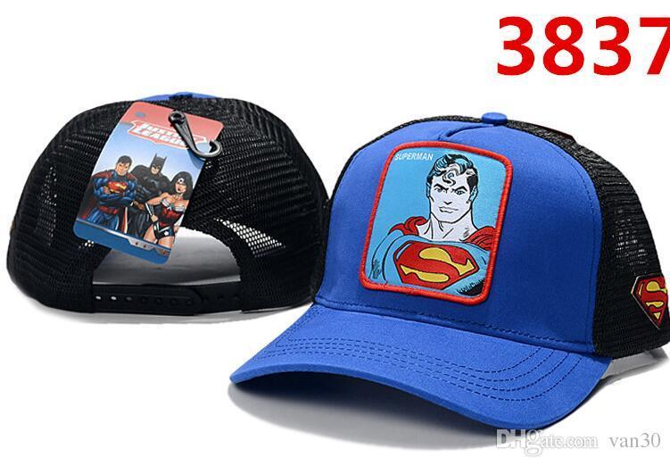핫 세일 브랜드 새로운 DC 만화책 Snapback Cap 배트맨 조정 가능한 수퍼맨 모자 남성 여성 야구 모자 패션 힙합 모자 마블 만화 스타일