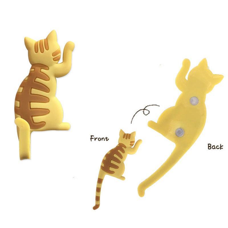 Presentes 1Pcs Silicone animal dos desenhos animados do gato ímãs bonitos do refrigerador do quadro branco Sticker imãs crianças Decoração Gancho