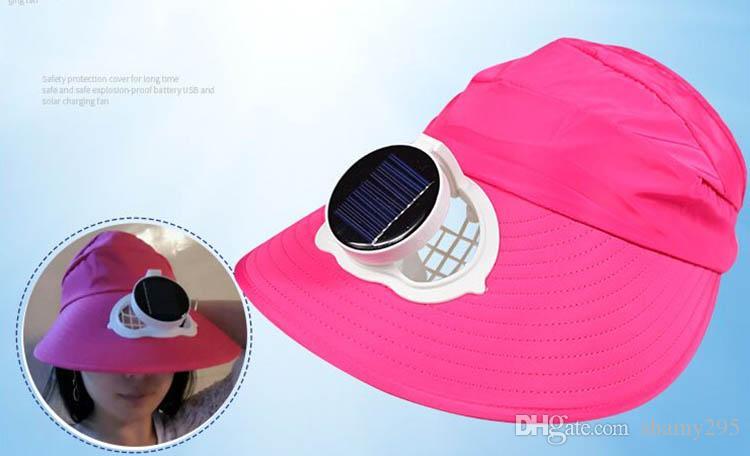 팬 캡 자외선 차단 무료 배송 냉각 큰 바람 절반 빈 모자 여름 야외 작업 낚시 환기를 충전하는 태양 팬 모자의 USB