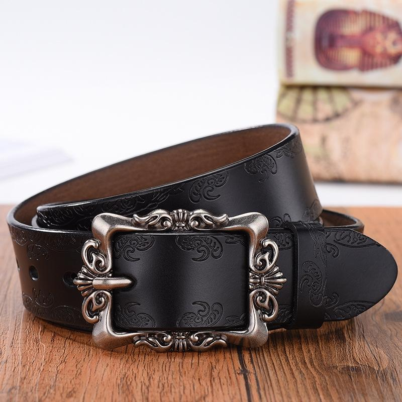SMJIY Genuine leather embossed carved students pure whole cowhide jeans Genuine leather embossed belt carved students pure whole cowhide jea