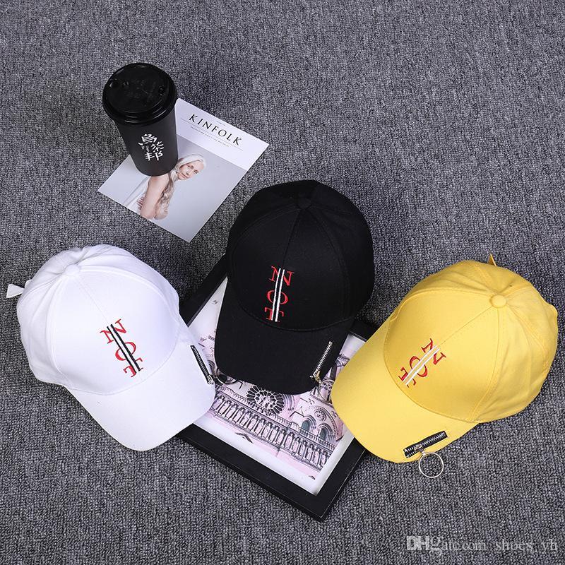 2019 versione coreana del Personality Zipper Sunshade Ricamo lettere uomini e donne moda strada curvo cupola berretto da baseball persone