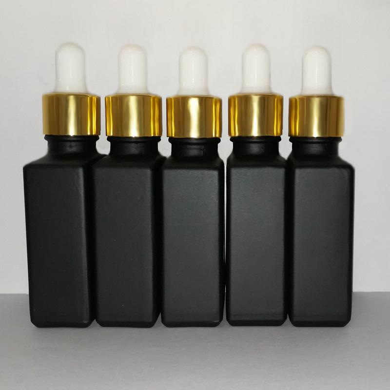 Noir 30ml en verre givré liquide réactif Pipette Dropper Bouteille carrée Huile Essentielle Parfum bouteille d'huile fumée Bouteilles e liquide d'or Cap