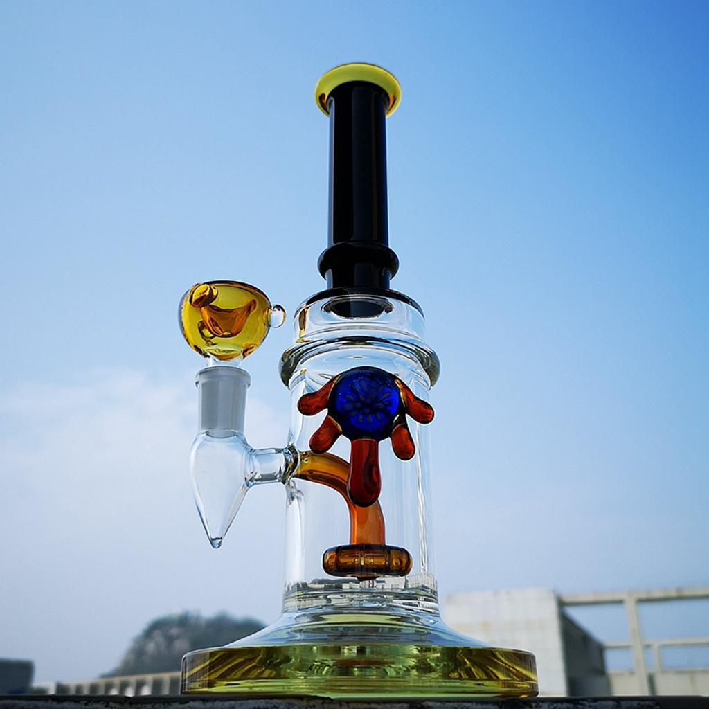 5mm Thick Water Pipe Heady Glass Bong Straight Tube Bong Glass Oil Dab Rigs With Showerhead Perc 14mm Bowl CS1223