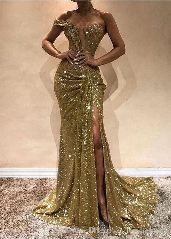 New Style One Shoudler Sexy Plunging Neck Prom Dresses Long Side Split Sequined Mermaid Evening Party Gowns