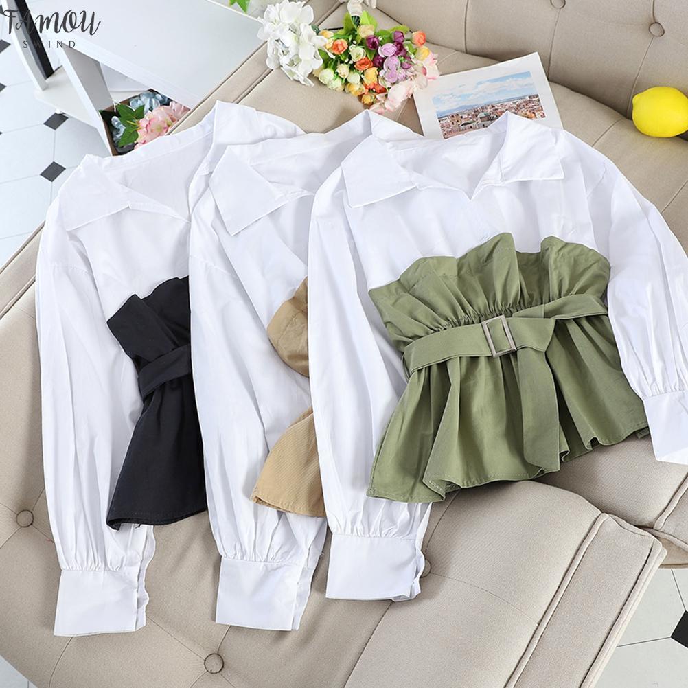 2019 Otoño Mujer empalmado tapas de la blusa de manga larga Casual Turn Down cuello de los marcos blancos ocasionales de OL mujeres sueltan las blusas