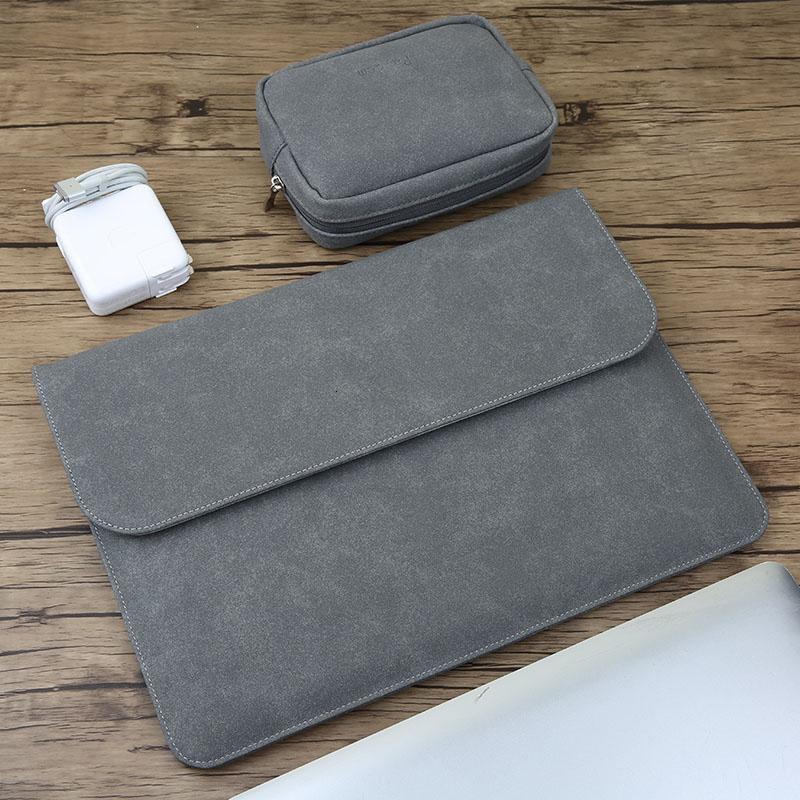 Matte Magnetic Buckle PU Laptop Sleeve Bag For Xiaomi Macbook Pro 13 Case Air 11 12 Retina 2018 New 15 Touch Bar Women Men Cover SH190924