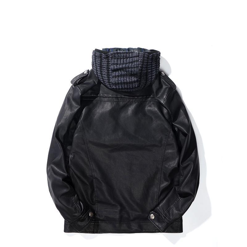 2018 New Style spazzolato e cuoio spesso del cappotto degli uomini di usura staccabile Cappello Vintage Borse del collare del basamento degli uomini del rivestimento del cappotto