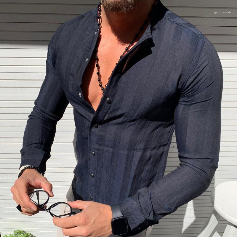Comprimento shirt listrado masculino V Neck shirt dos homens da Primavera Designer Único Breasted Shirts Mens Long Sleeve regular