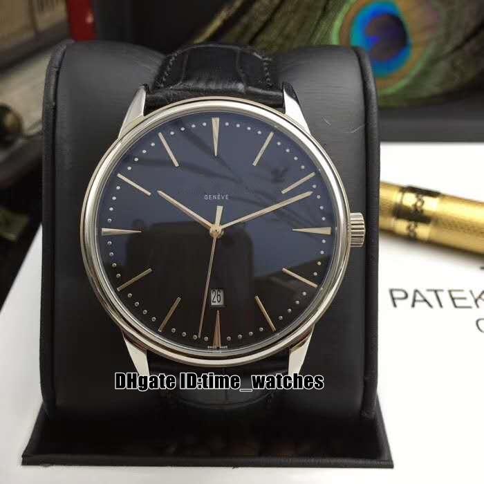 8 colores NUEVO Patrimonio 85180 / 000R-9166 Dial Negro Reloj para hombre automático de cuero de 42 mm Correa de moda de los señores de negocios Relojes regalo perfecto