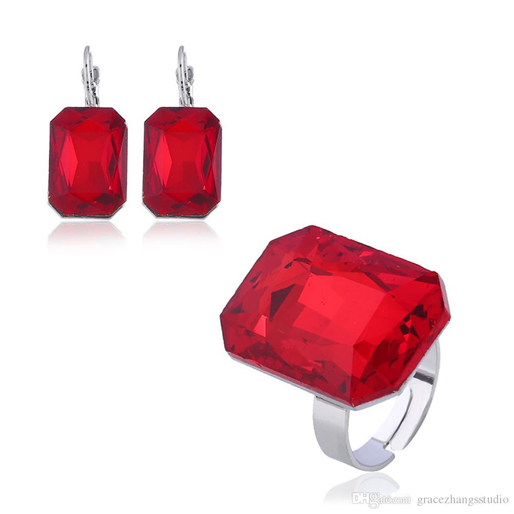 다이아몬드 블루 다이아몬드 5 종 세트 결혼 반지 여성 보석 반지 정교한 크리스탈 반지 반지